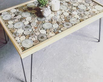 Coffee Table, Driftwood, End Grain, Living Room, Furniture, Reclaimed Wood, Unique, Handcrafted, Home Goods, Hair Pin Legs, Glass Top, Table