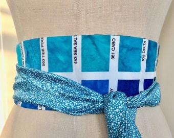 Paint Palette obi sash, aqua print obi belt sash, asian brocade turquoise obi belt, waist cincher sash, reversible obi belt,