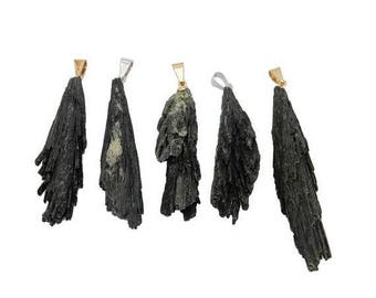 15% off Christmas in July Black Kyanite Freeform Pendant with Gold or Silver Plated Cap and Bail (S57B17b)