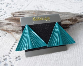 Vintage Teal Enamel Post Earrings, Mod Triangle Posts