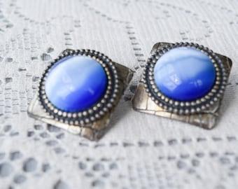 Blue Moonstone Earrings, Vintage Square Silver Tone Posts