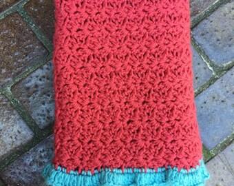 Lovely Crocheted Baby Blanket, Baby Blanket with RUFFLE edging, Sweet Blanket