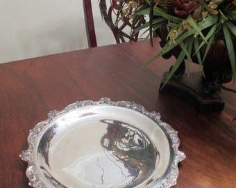 """50% Off, Summer SALE Vintage POOLE Silver Company Old English 5002 Silver-Plated Serving Platter 15"""""""