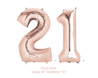"""Jumbo Rose Gold Numbers """"21"""" Balloons Large 34"""" Mylar Number Balloons / Set of 2 balloons / 21st Birthday Photo Prop New Rose Gold Balloons"""