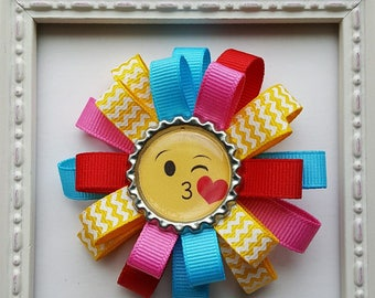 Emoji Inspired Kissing Bottle Cap Loopy Hair Bow - Yellow, Turquoise, Pink & Red - Cute Gift or Emoji Birthday Party Favor