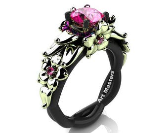 Nature Inspired 14K Black and Green Gold 1.0 Ct Pink Sapphire Floral Engagement Ring R460-14KBGGPS