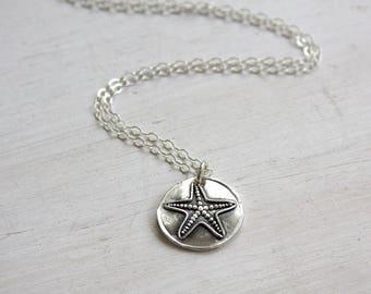 Starfish necklace, wax seal necklace, wax seal jewelry, charm necklace, fine silver, beach jewelry, everyday jewelry