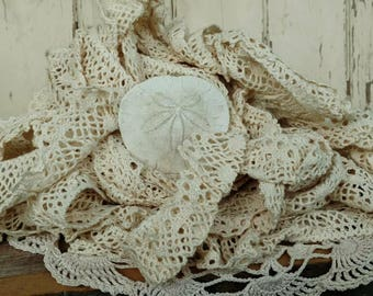 """Vintage Antiqued Ivory Crocheted Wide Lace - Extra Wide Lace Trim + Yardage, Crafting Supply Seamstress Destash, Sewing Lace Yardage, 678"""""""