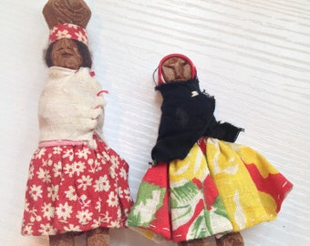Pair of 2 Carved Tarahumara Mexican Dolls