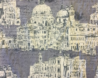 Edinburgh Weavers Venice Charcoal cotton print fabric by the metre