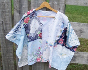 Kimono Jacket from Upcycled Vintage Handkerchiefs, Beach Cover Up or Bridal Wrap for Women in One Size, Shorter Length, White and Blue