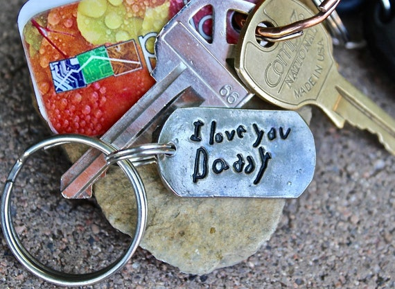 Gift for Dad, Gift for Mom, Child's Handwriting Keychain, Real Child's Handwriting Keychain, handwriting pressed deep into metal, silver