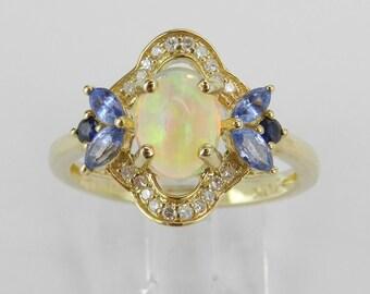 Yellow Gold Tanzanite Opal Diamond Sapphire Engagement Ring Size 7 October Gem