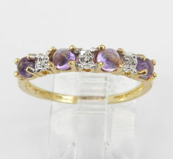 Vintage Diamond and Amethyst Wedding Ring Anniversary Band Yellow Gold Size 7