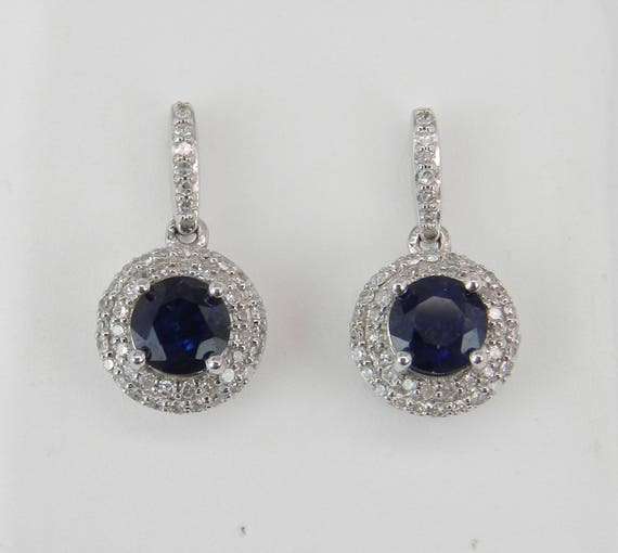 14K White Gold Sapphire and Diamond Halo Drop Earrings September Wedding Gem