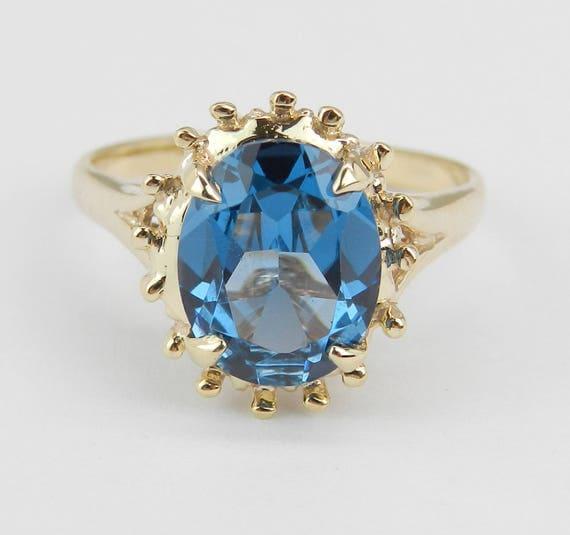 Estate Yellow Gold London Blue Topaz Solitaire Engagement Promise Ring Size 6 December Gem