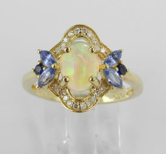 Yellow Gold Tanzanite Opal Diamond Sapphire Engagement Ring Size 7 October Gem