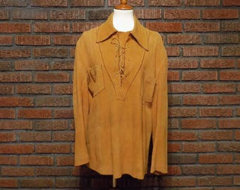 Vintage 70s Norm Thompson Tan Suede Leather Peasant Shirt Men's L