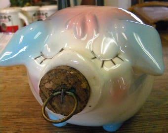 clean vintage shiny unusual color 1957 hull pottery  CORKY PIG piggy BANK original cork
