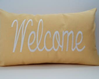 "WELCOME custom embroidered yellow pillow cover Sunbrella buttercup 12"" x 20"" indoor outdoor decorative throw farmhouse decor Oba Canvas"