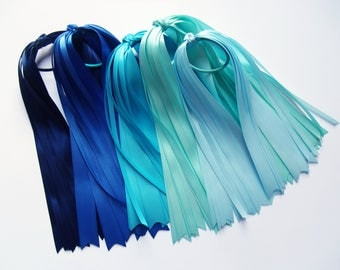 Blue, Aqua, Turquoise Satin Hair Streamers - Pony Tail Streamer, You Choose Color