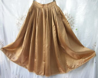 Vintage Satin Skirt 1950's Spice Satin Skirt ~  Glam ~ Give a Twirl in Style ~ Amazing FEEL GOOD Chic / X Small Size