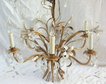 Italian Chandelier ~ Gold Leaf White Tole Flowers ~ Gorgeous 6 Light ~ HTF Style ~ Chrystal Prisms ~Shabby Cream Flowers Hanging Chandelier