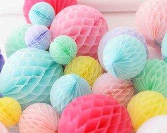 Pastel candy paper honeycomb set - 16 mixed size HONEYCOMBs BALLS -wedding party decorations - nursery decor-birthday paper lanterns