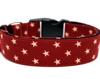 "Star Dog Collar 1.5"" Brick Red Dog Colar"