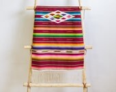 Mexican Serape Saltillo Textile / Table Runner, Tribal Southwest Decor