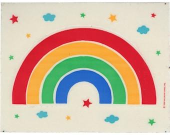 Vintage 80's HALLMARK Stickers Sheet ~ HUGE RAINBOW Stars Clouds
