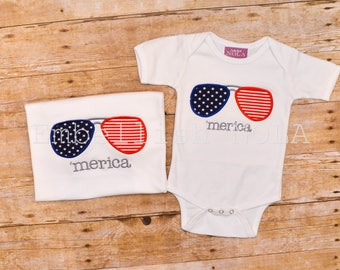 Patriotic, Independence Day, America, 'Merica, Aviator Sunglass Applique, 4th of July, Memorial Day, Shirt or Bodysuit