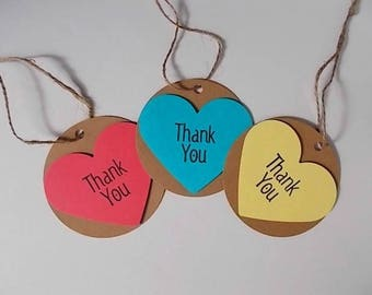 Heart Thank You Gift Tags, Embellishments, Baby Shower Gift Tags, Wine Bottle Thank You Tags with Twine