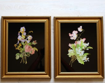 Pair of Vintage, Floral Foil Art Paintings