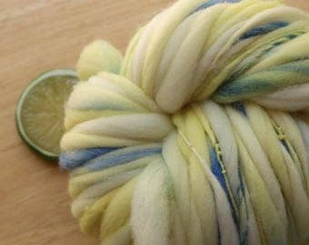 Sunny Day - Handspun Wool Yarn Blue Yellow Thick and Thin Skein