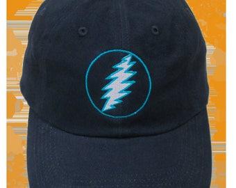 GD Lightning Bolt Embroidered Ball Cap-Navy
