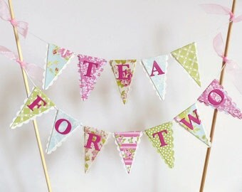 Tea For Two Cake Bunting Topper - Girls Second Birthday Tea Party - Floral Pink, Blue, Green