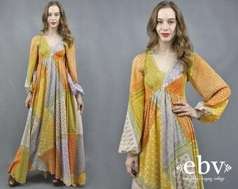 Patchwork Maxi Dress Hippie Dress 1970s Dress 70s Maxi Dress Hippy Dress Boho Dress Bohemian Dress Festival Dress Gypsy Dress S M