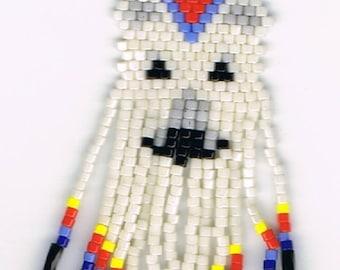 Hand Beaded  white Wolf with long fringe earrings