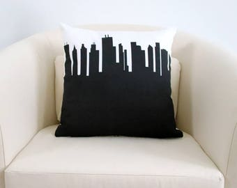 CHICAGO Skyline Large Throw Pillow. Skyline Throw Pillow. Decorative Pillows. Home Décor. Gifts for Him. Dorm Décor. Housewarming Gift.