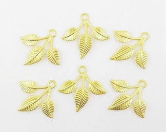 Gold Leaves, Brass Leaf, Leaf Stamping, Brass Drop, Brass Stamping, 25mm x 27mm - 6 pcs. (gd322)