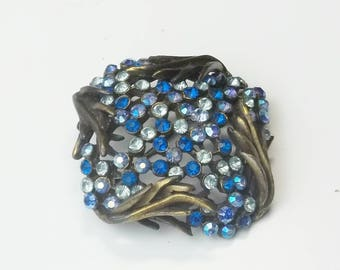 Vintage Karu Arke Blue Aurora Borealis Sapphire Blue Sky Blue Rhinestone 1950's Hollywood Glamour Costume Jewelry Brooch Pin Gift for Her