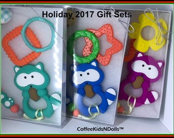 For Baby // Silicone Teether // Pacifier Clip & Toy Gift Set // You Choose // Raccoon Beads // Stocking Stuffer // Shower Gift // Christmas