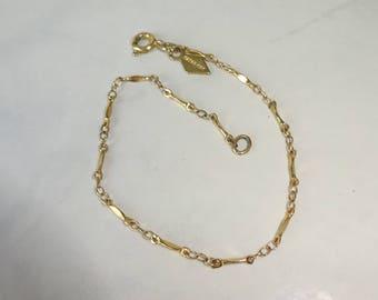 """Vintage Sarah Coventry Bracelet Gold Chain Link Bracelet 7"""""""