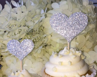120 Cupcake Toppers Sparkling SILVER HEARTS Wedding Cake Decorations Food Picks Appetizers
