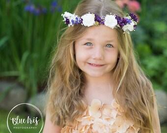 Newborn Angelic Halo Creams n Purples Floral headband Fairytale Head halo for baptism 1st photos flower girl Cute photo shoot High Contrast