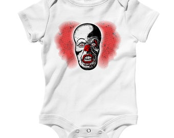 Baby Battery Acid Romper - Infant One Piece, Creeper - NB 6m 12m 18m 24m - Scary Clown Romper, Horror, Nightmare - 3 Colors