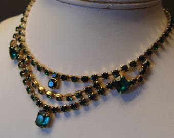 TEAL GREEN rhinestone NECKLACE vintage evening prom formal