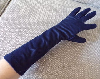vintage NAVY MIDLENGTH GLOVES 50's 60's 7.5 8