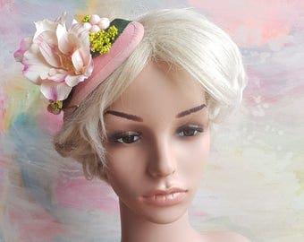 Floral fascinator with magnolias. Flower boho hat. Romantic flowergirl bridesmaid raceday teaparty